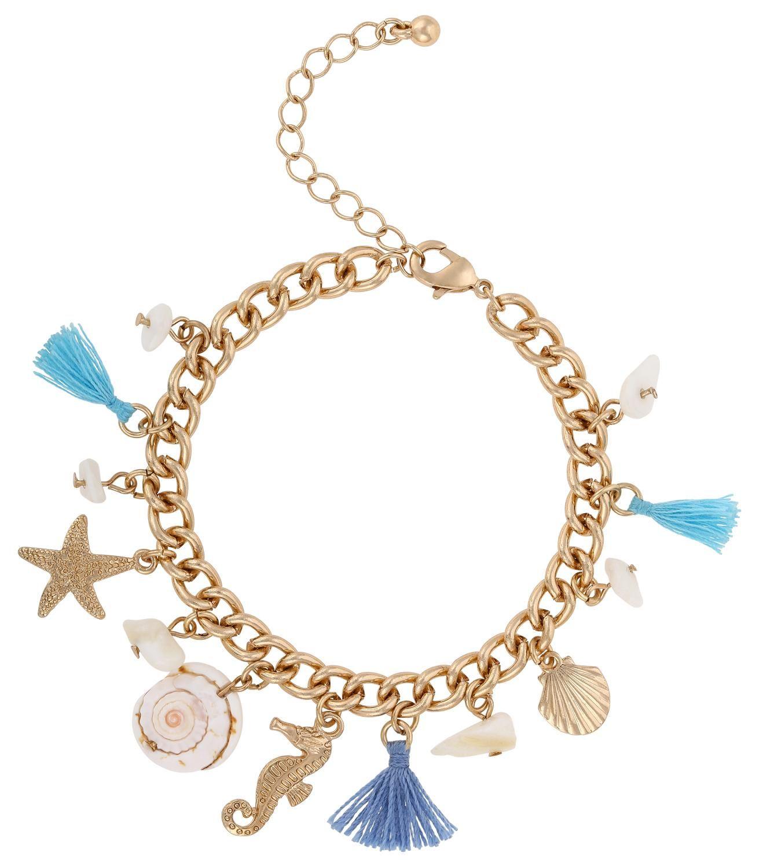 Dieses niedliche Armband bringt die kleine Meerjungfrau in Ihnen hervor. Es ist in Weiß, Blautönen und Goldfarben gehalten und wird mit kleinen Anhängern verziert. Helle Steinchen und eine echte Muschel, zusammen mit klassischen...