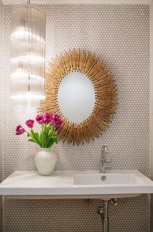Midcentury Powder Room by Venice Interior Designers & Decorators Shelby Wood Design