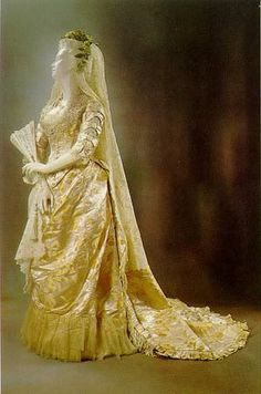 Wedding gown, House of Worth, ca. 1878.
