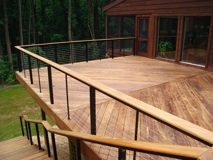 decks with cable railing Steps Pinterest Terrasse suspendue