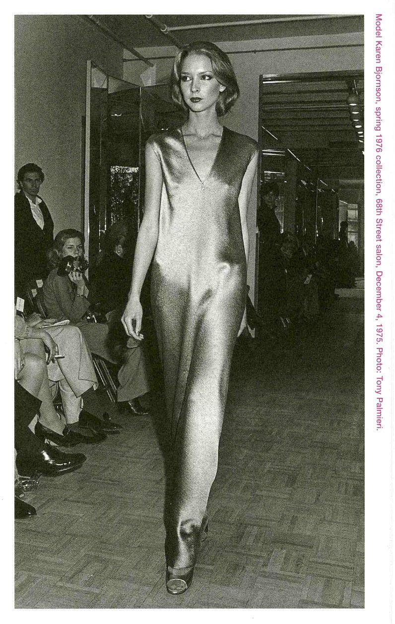 Halston- 1976 Spiral cut, hammered satin gown (on Karen Bjornson)