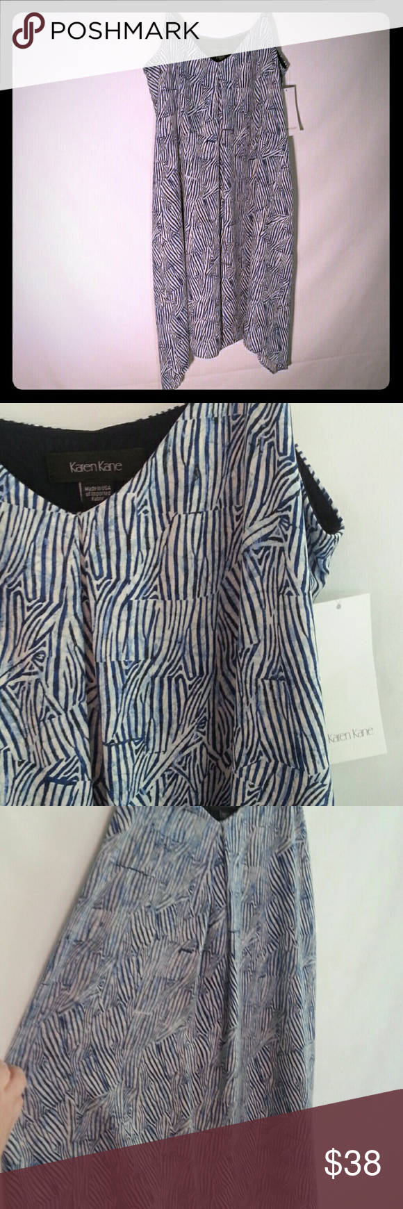 Karen Kane dress Blue and white striped summer dress. Soft To Touch . Flowing with jagged bottom. Has a slip under it. 100% polyester. Karen Kane Dresses Maxi