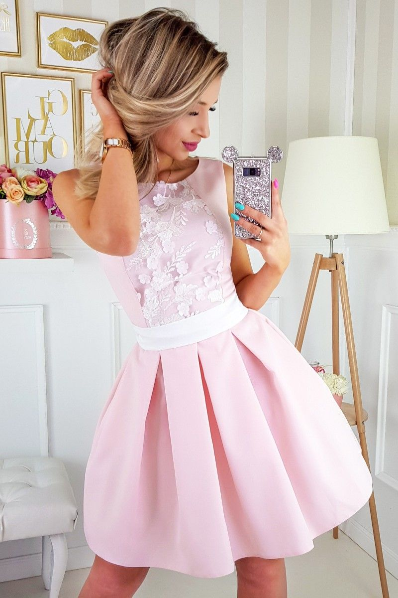 f23cd5b625 A-Line Round Neck Above-Knee Pink Homecoming Dress with Appliques ...
