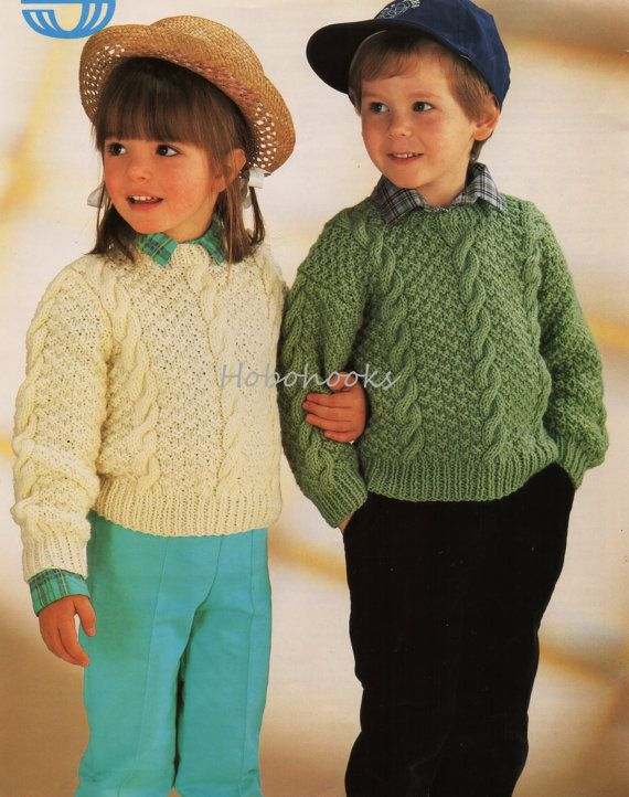 Baby / childs / childrens aran sweater / jumper - 20 to 28 inch ...