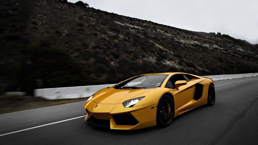 Yellow Color Lamborghini Race Car Wallpaper Captured By Nikon D