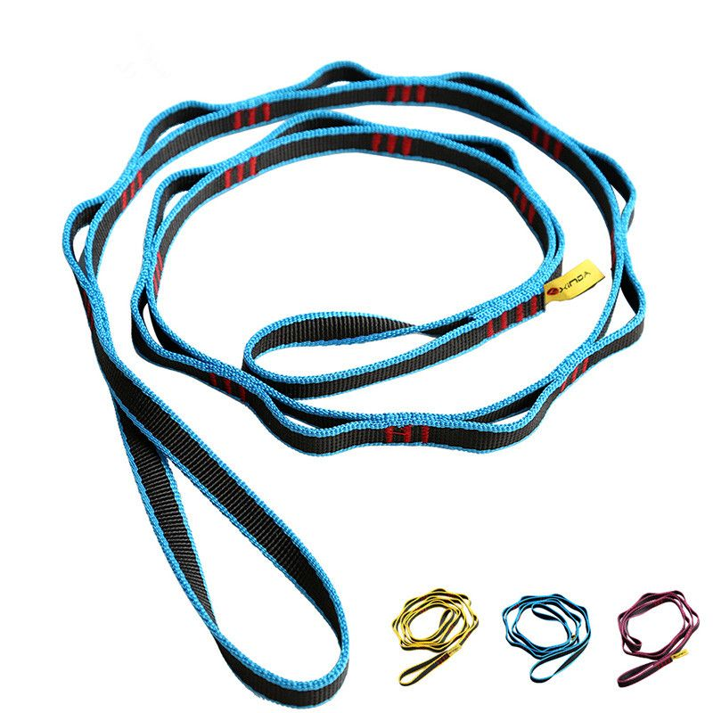 22KN Escalada Cadena Cuerda con Bucles Yoga Hamaca Colgante Correa de Nylon Montañismo Bandlet Sling, 110 cm/150 cm/180 cm(China (Mainland))