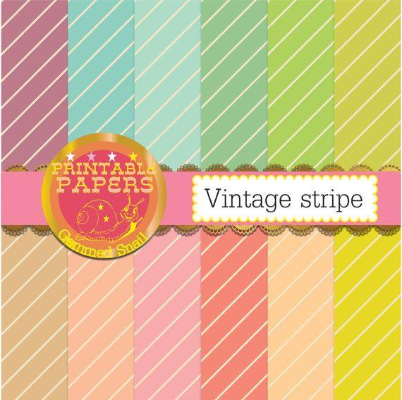 Stripe digital paper 'Vintage stripe' 12 kraft paper pastel stripe patterns in vintage candy bag style diagonal stripe