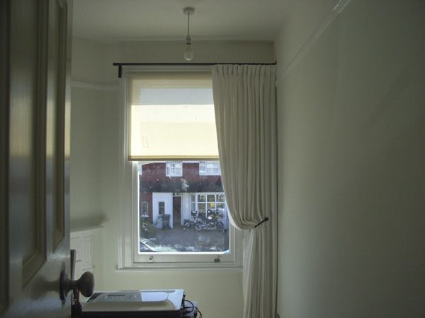 Single Curtains Can Work Well On Asymetric Windows Here