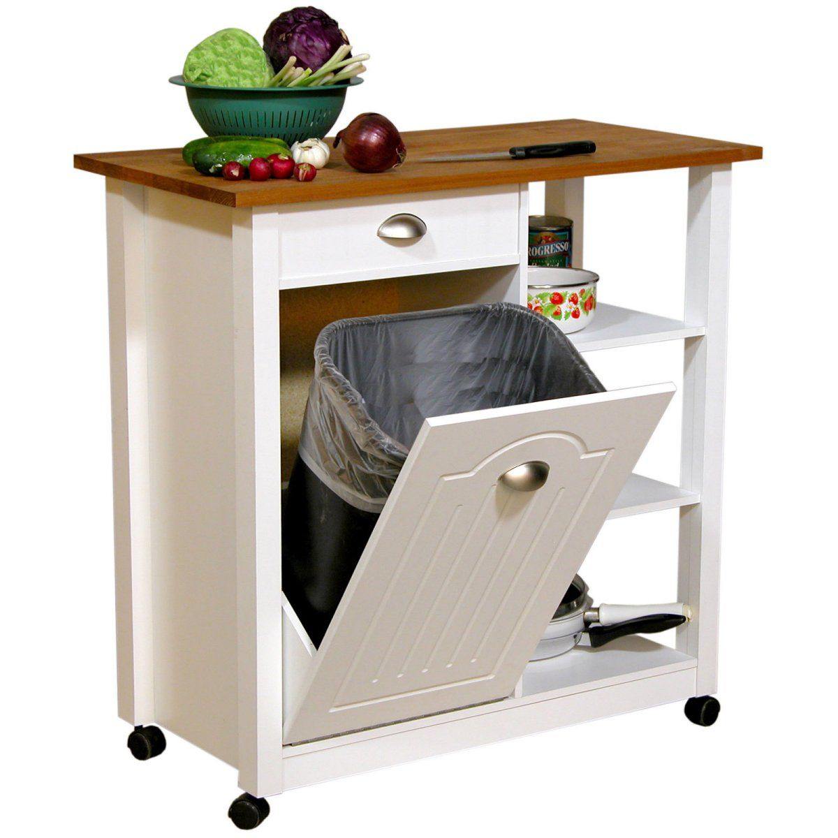 venture horizon butcher block top kitchen cart with trash bin