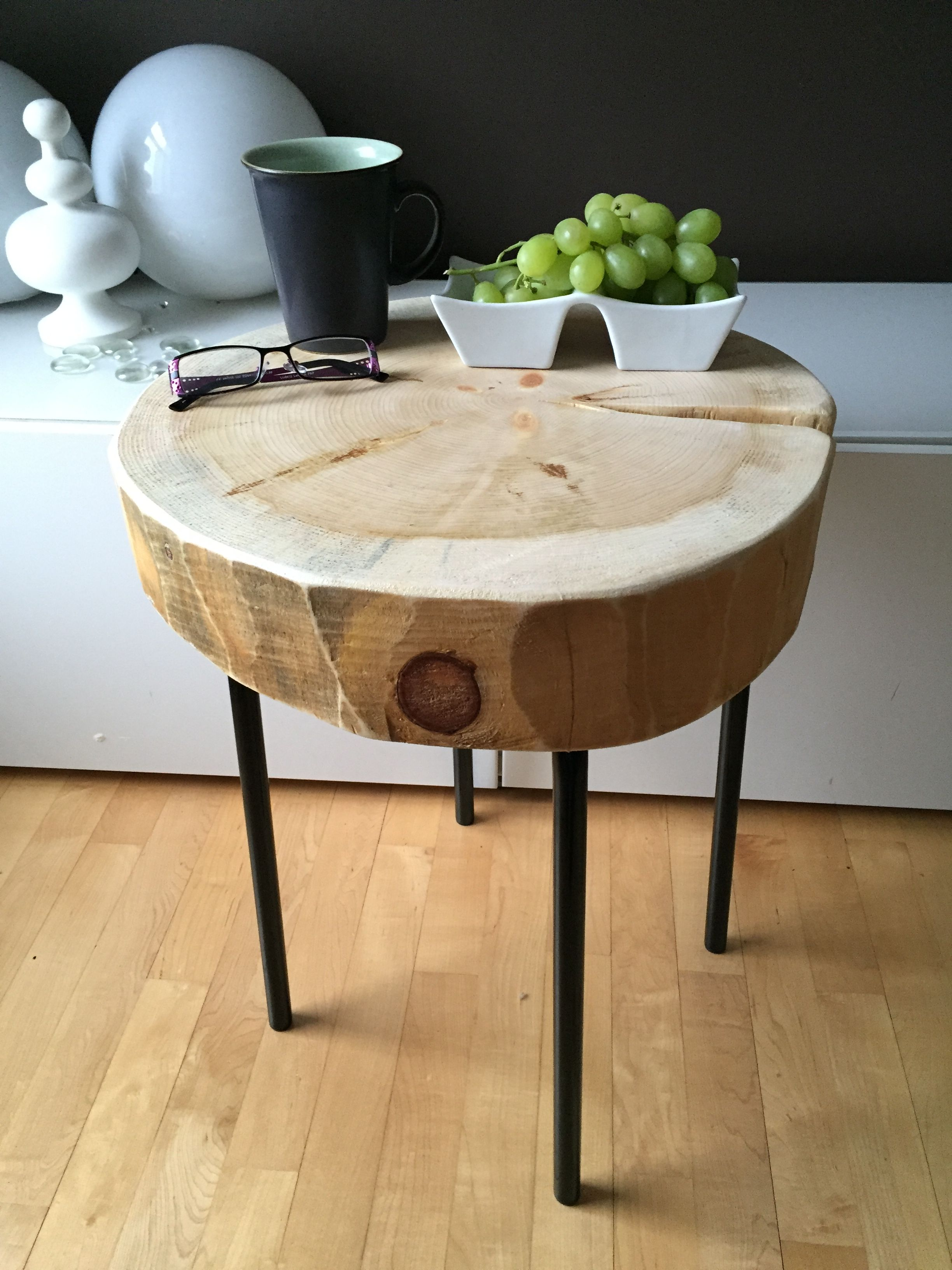 Stump table with metal legs root coffee tables root for Wood stump end table