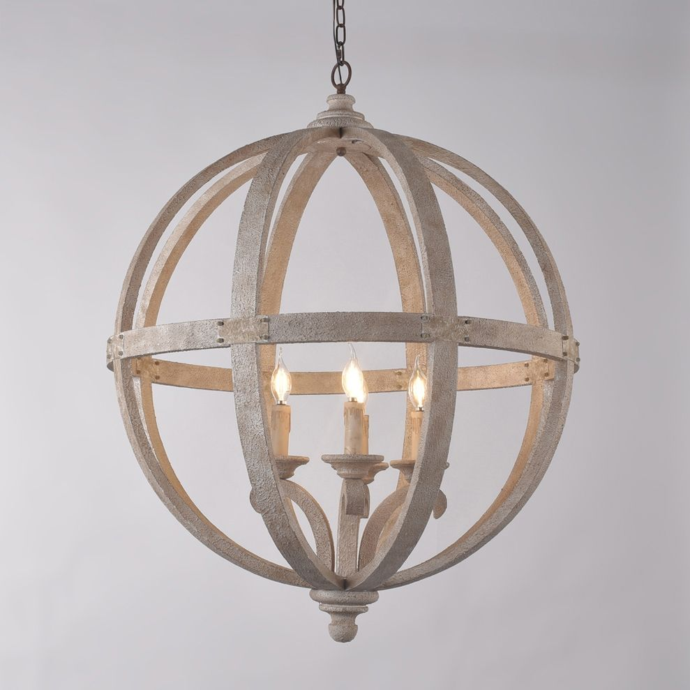 Rustic Style 4 Light Wooden Globe Chandelier Vintage Candle Style Ceiling Light In White Finish Ceiling Lights Globe Chandelier Rustic Chandelier