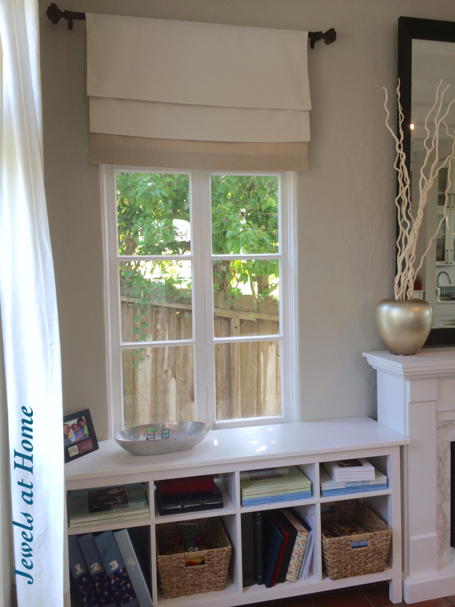 Turn A Curtain Panel Into Fixed Faux Roman Shade Jewels At Home Venetianblindsandcurtains