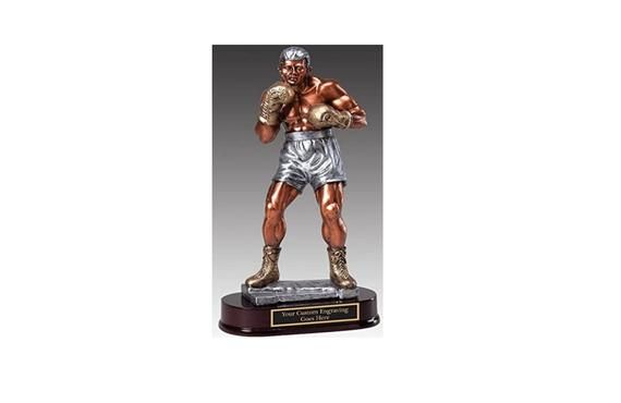 Boxer, Boxing Award Trophy Large Size 12 1/2 Tall Colorized Resin Sculpture