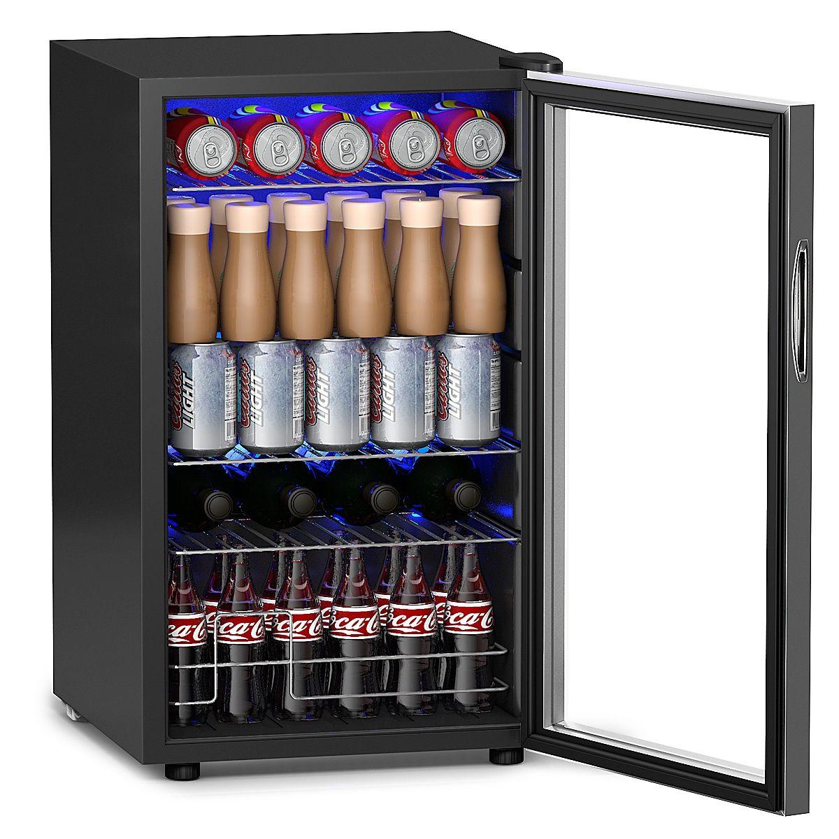 76 Can Beverage Refrigerator Cooler with Glass Door