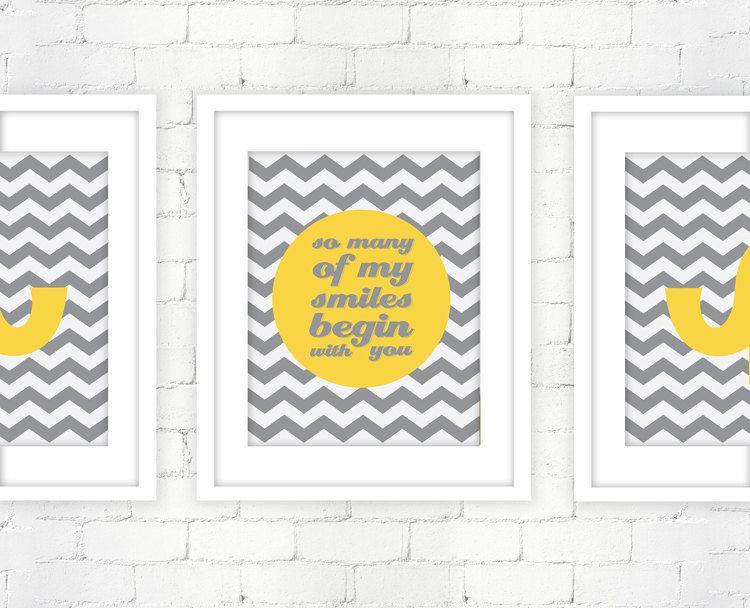 Smiles and Elephants Prints Chevron Zig Zag - set of 3 prints 8x10 ...