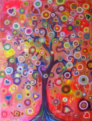 Colorful swirly tree