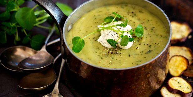Kumara and watercress soup. Photo / Babiche Martens.