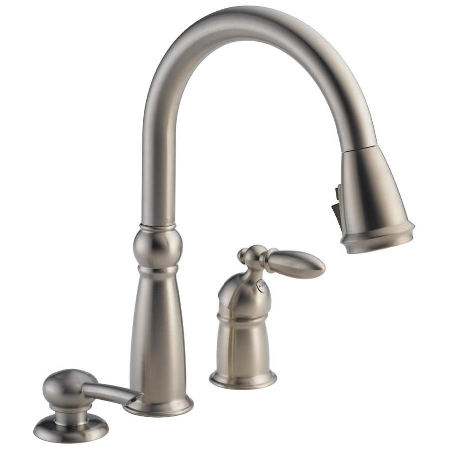 Delta Victorian Stainless 1 Handle Deck Mount Pull Down