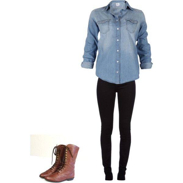 oversize denim shirt, brown combat boots,& black pants- wear white ...