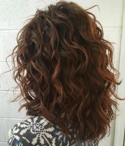 Mid Length Curly Layered Haircut Thick Wavy Hair Hair Styles Natural Wavy Hair