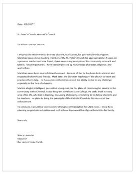 Letter Of Recommendation For Student For Church Scholarship
