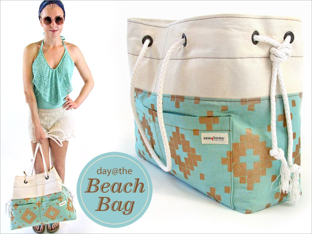 Big Canvas Beach Tote with Rope & Grommet Handles