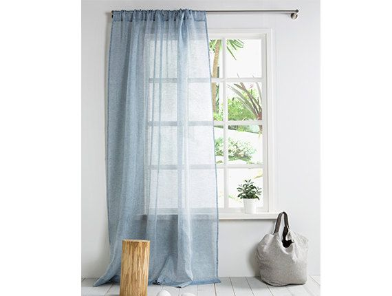 Linen Curtain-Blue Curtain Panel-Window Curtain by LinenHomeDecor