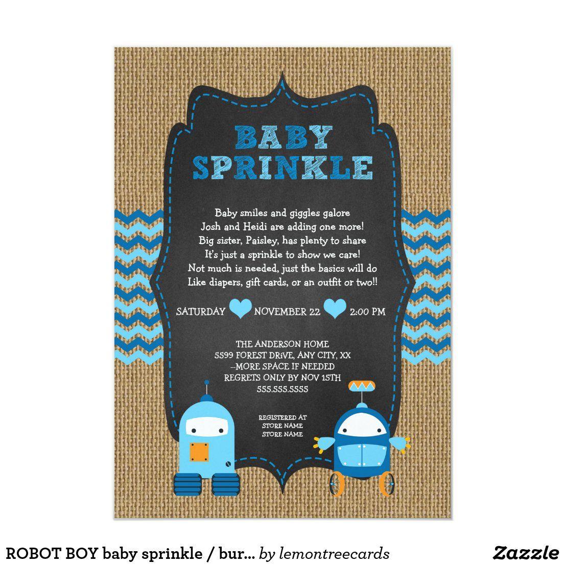 ROBOT BOY baby sprinkle / burlap chalkboard RUSTIC