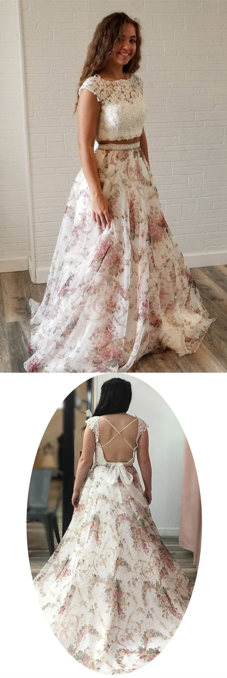 Two piece long prom dress prom dress two piece white lace and