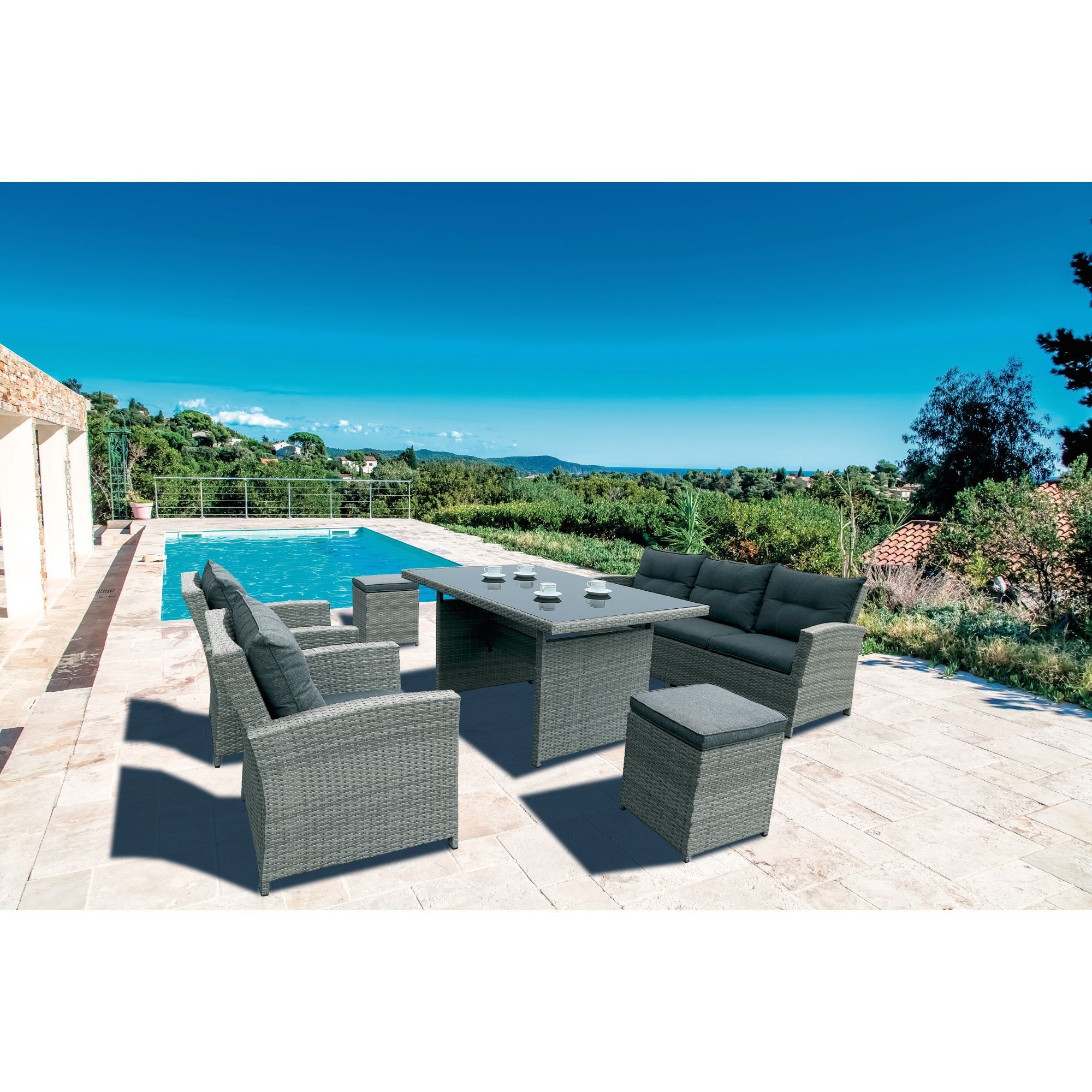 salon de jardin en r sine tress e 6 l ments san diego tables de jardin meubles de jardin. Black Bedroom Furniture Sets. Home Design Ideas