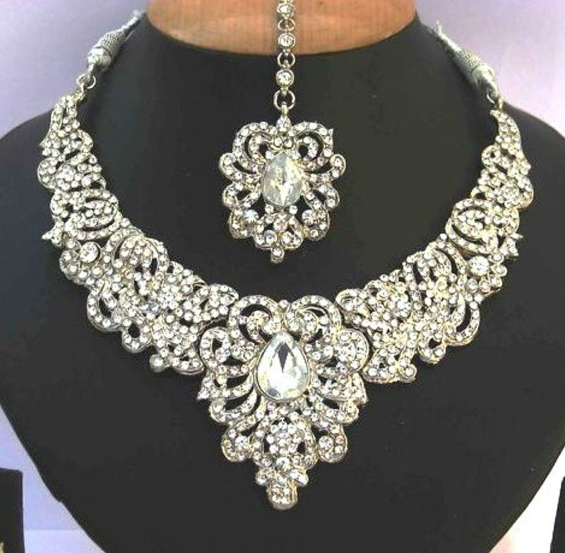 Indian Bollywood Kundan Silver Crystal Necklace Set Stylish Bridal