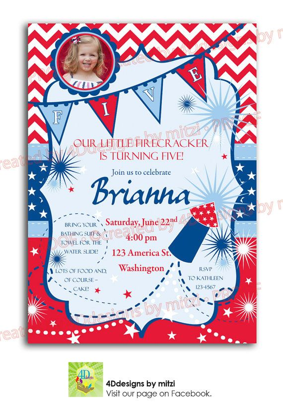 RED WHITE and BLUE. Its all patriotic with this invitation on Etsy, $18.00