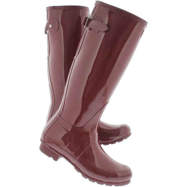 Hunter Women's ORIGINAL ADJUSTABLE GLOSS red rain boots ($175) ❤ liked on Polyvore featuring shoes, boots, red shoes, shining boots, shine boots, red shiny boots and red rubber boots