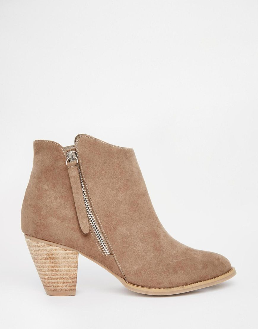 Buy Women Shoes / Head Over Heels By Dune Patel Taupe Heeled Western Ankle Boots