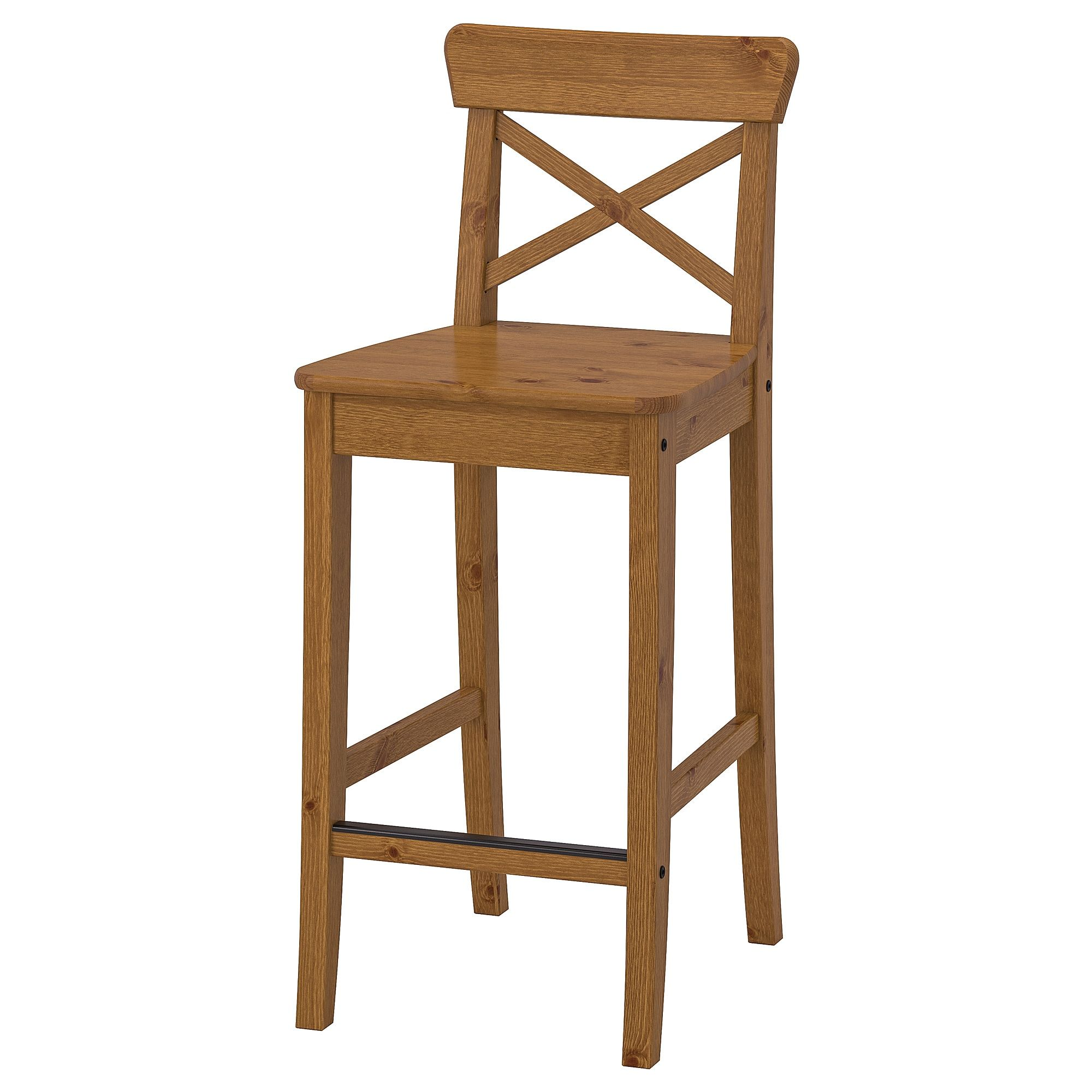 INGOLF antique stain, Bar stool with backrest, 63 cm