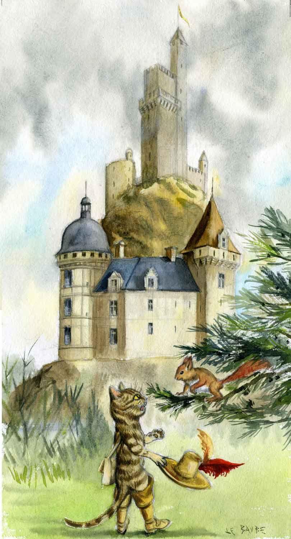 Le ch teau de l 39 ogre illustration pour le conte le chat bott peinture l 39 aquarelle sur - Dessin du chat botte ...
