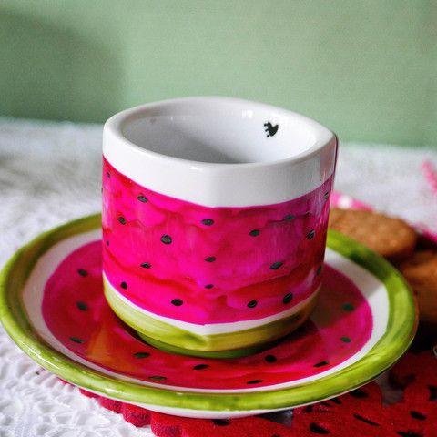 Taza café con leche con platito - Sandía