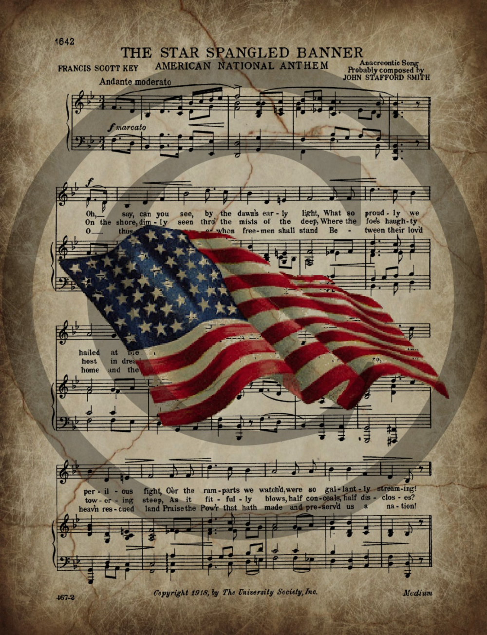Primitive Patriotic Star Spangled Banner American Flag Jpeg Digital Image Feedsack Logo for Pillows Crock Can Pantry Labels Hang tags