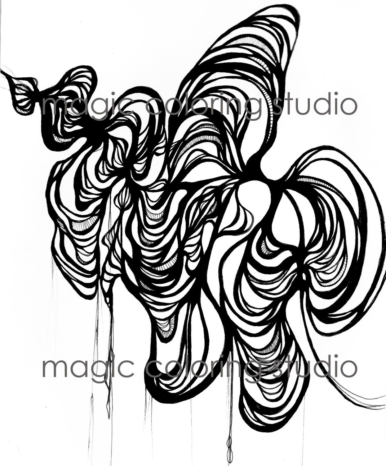 Abstract Sea Flower Coloring Page Adult And Children Printable Illustration Art Magically Combined