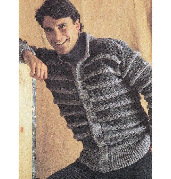 Easy Mens Crochet Sweater Pattern Ridged Cardigan Sweater Crochet