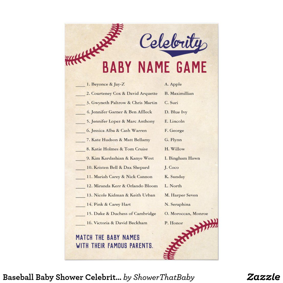 Baseball Baby Shower Celebrity Baby Name Quiz Flyer Zazzle Com Celebrity Baby Names Baby Shower Quiz Baseball Baby Shower