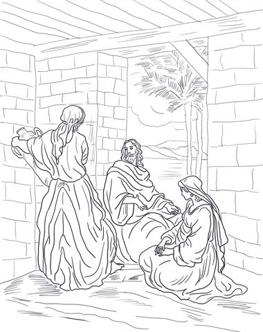 Jesus Visits Mary And Martha Coloring Page From Jesus Mission