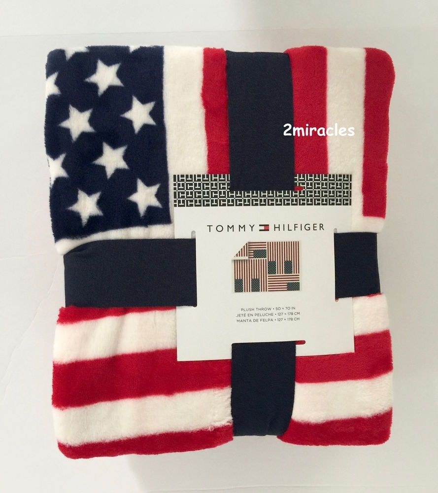 6ebf4032 Tommy Hilfiger Soft Plush USA American Flag Patriotic Bed Throw Blanket New  #TommyHilfiger