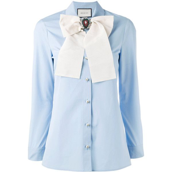 1e477f034acd Gucci removable brooch shirt ($1,300) ❤ liked on Polyvore featuring tops,  blue, gucci, logo shirts, light blue oxford shirt, blue shirt, gucci shirt  and ...
