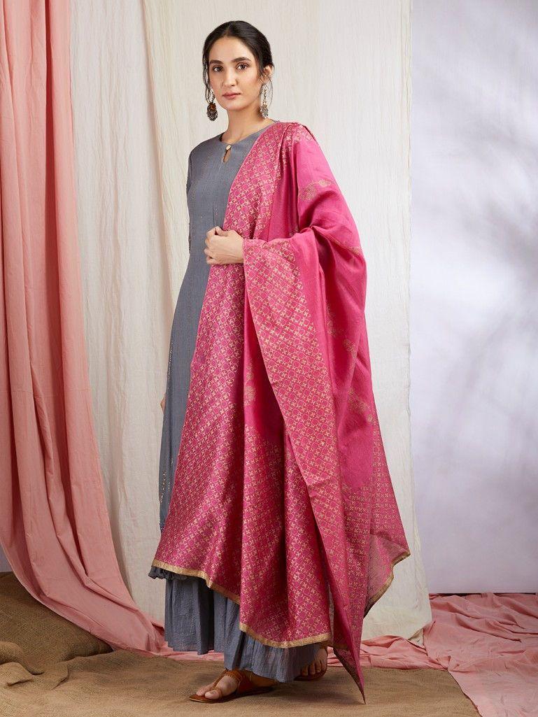 e5e5d69b43 Grey Golden Striped Cotton Kurta with Sharara and Pink Hand Block Printed  Chanderi Dupatta- Set of 3