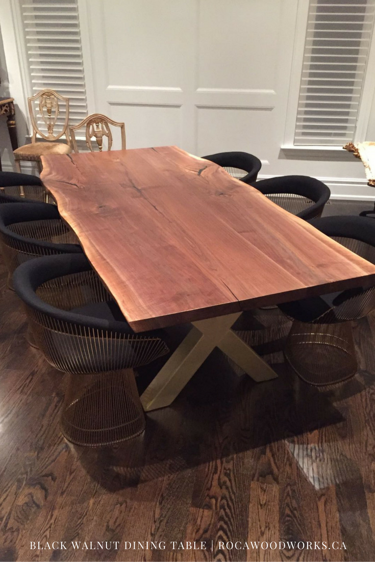 Dining Table With Golden Legs Custom Dining Tables Live Edge