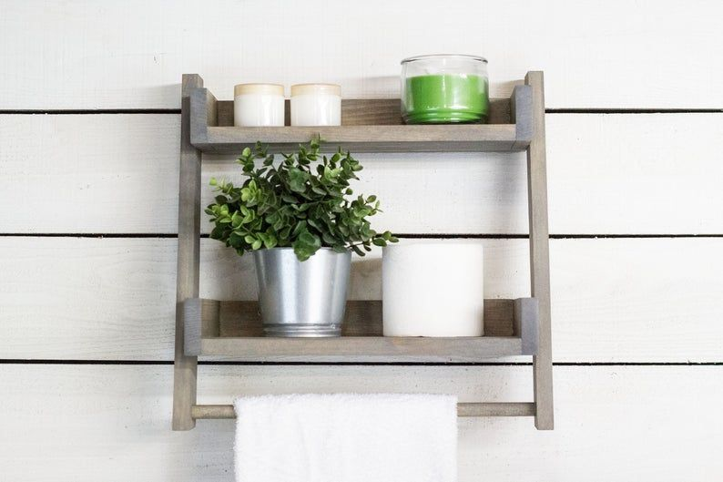 Floating Ladder Shelf With Towel Bar Etsy In 2020 Ladder Shelf Bathroom Ladder Shelf Bathroom Ladder