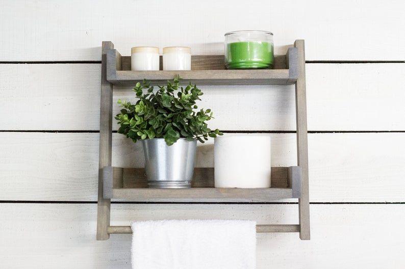 Floating Ladder Shelf With Towel Bar Etsy In 2020 Bathroom