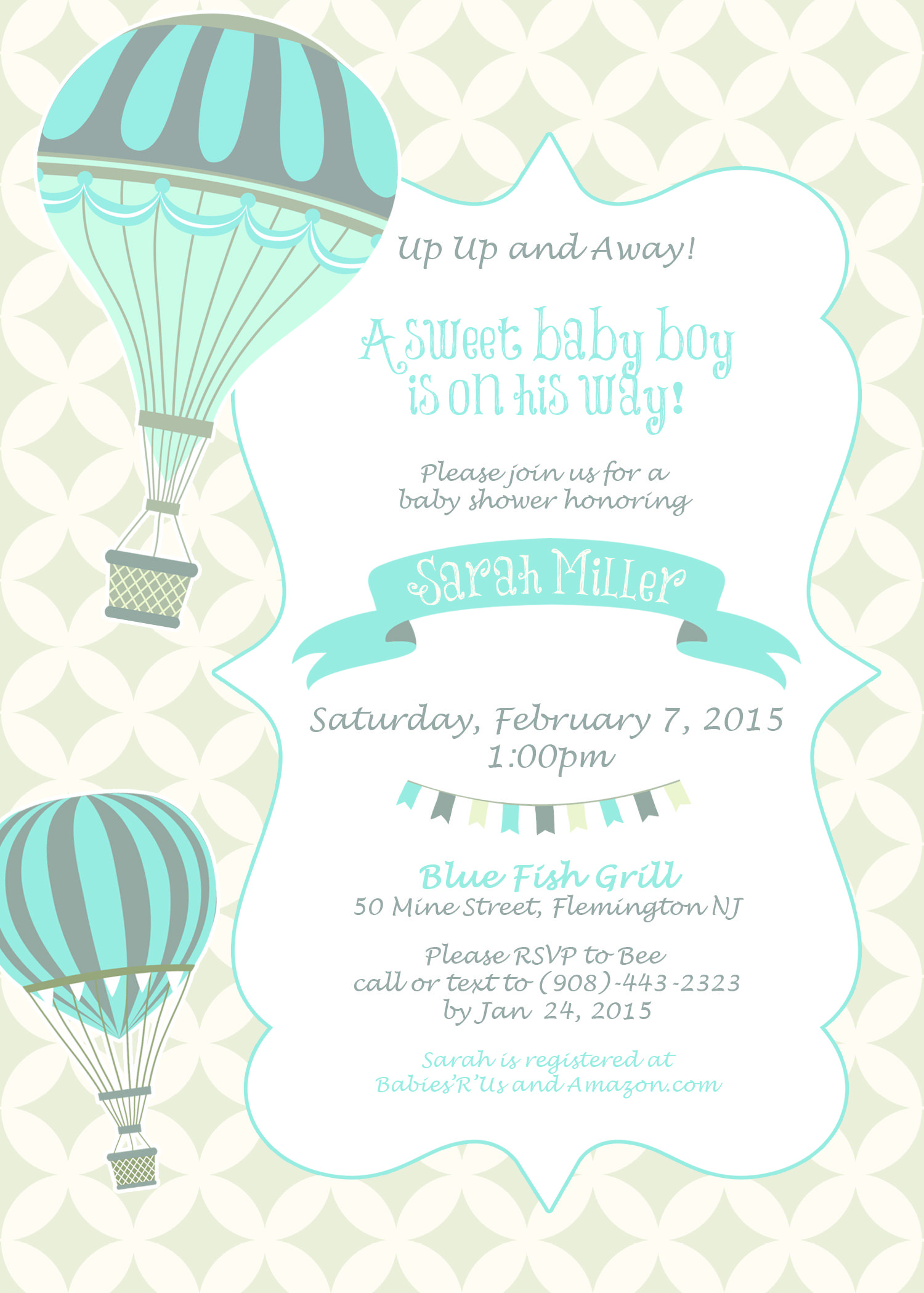vintage hot air balloon baby shower invitation 5x7 printable