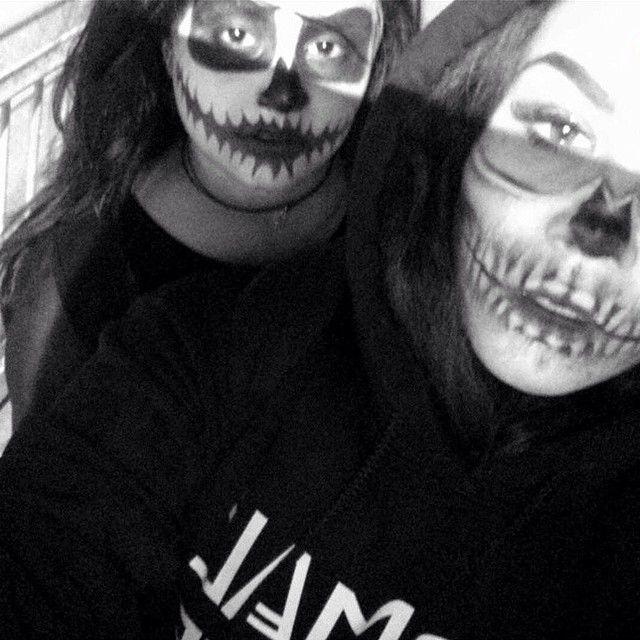 half skull on Halloween